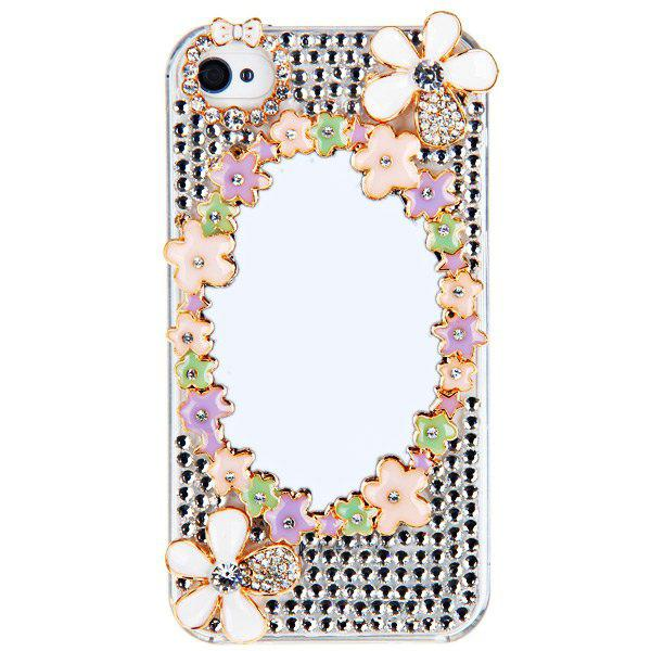 3D Style Rhinestones Mirror Plastic Back Hard Case for iPhone 4 / 4S