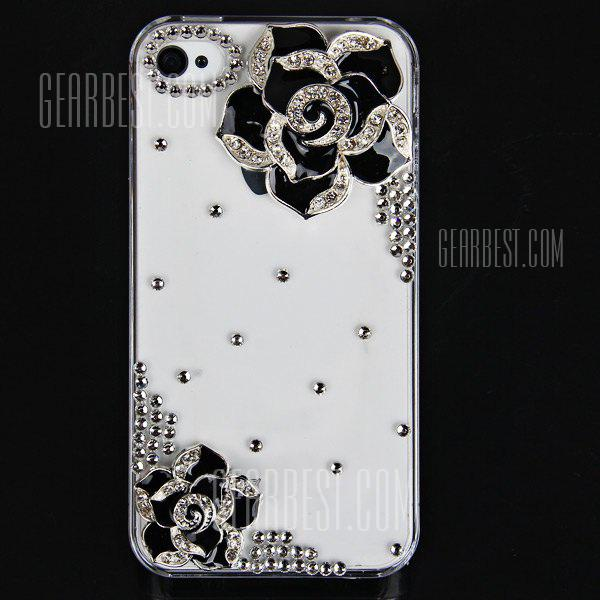 Cool 3D Design Rhinestones Clear Protective Plastic Hard Shell Case for iPhone 4 / 4S  -  Hawthorn Flower