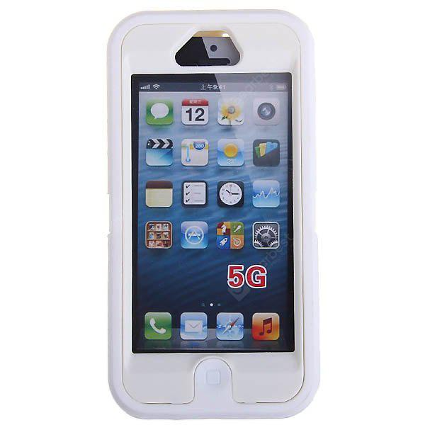 Unique Shock Proof Plastic Case with Outer Soft Silicone Skin for iPhone 5 - White