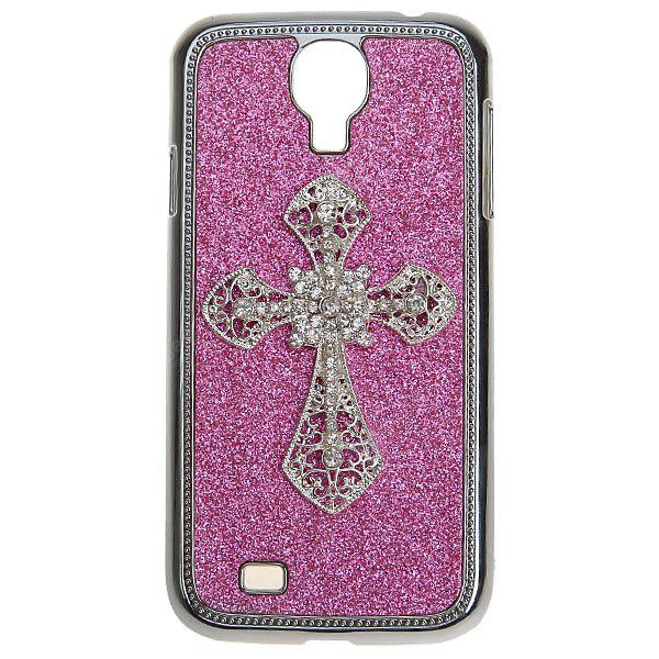 Cross Artificial Diamonds on Electroplated Plastic Case for Samsung Galaxy S4 i9500 / i9505