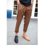 Fashion Style Solide Couleur Pliez s 'Design Polyester Hommes neuf minutes Pantalons - CHOCOLAT