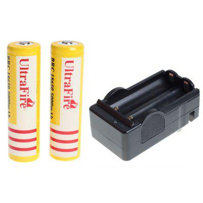 UltraFire 18650 High Capacity 3.7V 5000mAh Li - ion Rechargeable Battery with Charger  -  2 - Pack, Yellow, without Protection Board