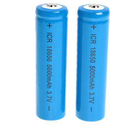 ICR 18650 3.7V 5000mAh Li-ion Rechargeable Battery - 2-Pack, Blue, without Protection Board