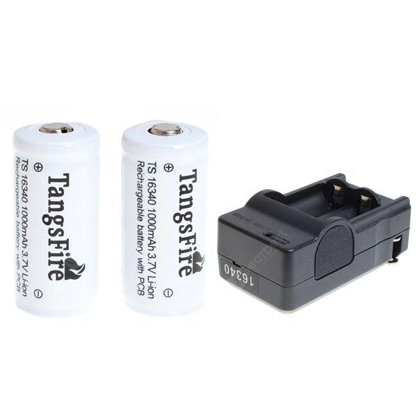 TangsFire 16340 White Li - ion Rechargeable Battery 3.7V 1000mAh with Protection Board