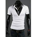 Fashion Style Turndown Collar Faux Twinset Short Sleeves Polyester T-Shirt For Men - WHITE