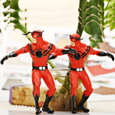 Set of 2pcs Highly Detailed American Heroes Character Model Toy Set  -  Red