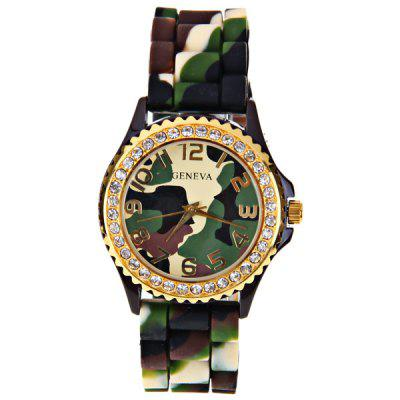 Geneva Quartz Watch 12 Arabic Number Hour Marks Rubber Watch Band for Women - Camouflage ColorWomens Watches<br>Geneva Quartz Watch 12 Arabic Number Hour Marks Rubber Watch Band for Women - Camouflage Color<br>