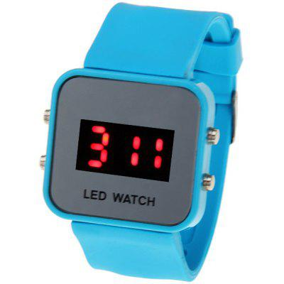 Red ;LED Sport Watch with Square Dial and Silicon Band