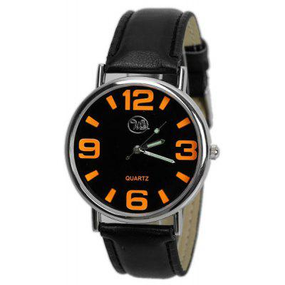 Cheap Watch with Round Dial and Leather Band for Unisex
