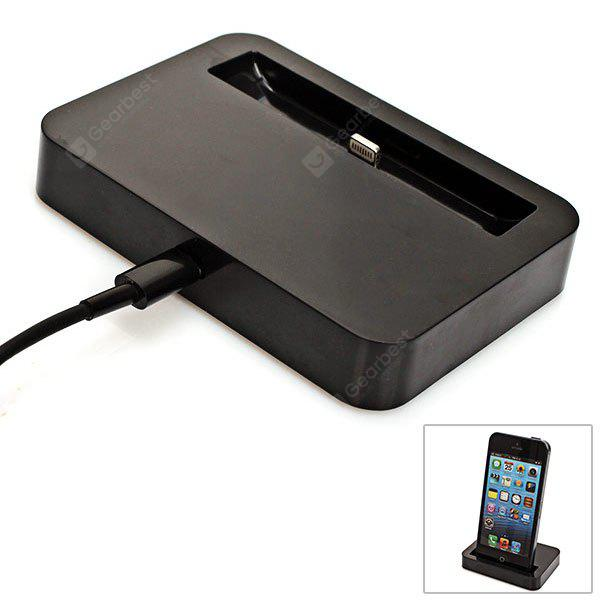 Compact Base Dock Power Charger with 1 M USB Cable for iPhone 5 - Black
