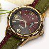 Julius Luxury Waterproof Watches with Calendar Round Dial and Leather Band for Men - GREEN