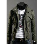 Fashionable Casual Style Multi-Pockets Design Slimming Bleach Wash Jacket For Men - ARMY GREEN
