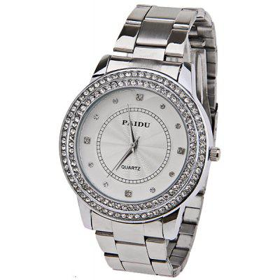 Paidu Quartz Watch with Diamond Squares and Dots Indicate Steel Watch Band for Women - Silver