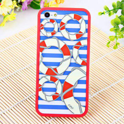 Portable Stylish Dual Colour Circles in Blue Streak Background Dismountable Case Cover for iPhone 5 PVC Materials