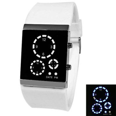 Waterproof Rubber Band Blue LED Watch with  Rectangle Shaped Dial