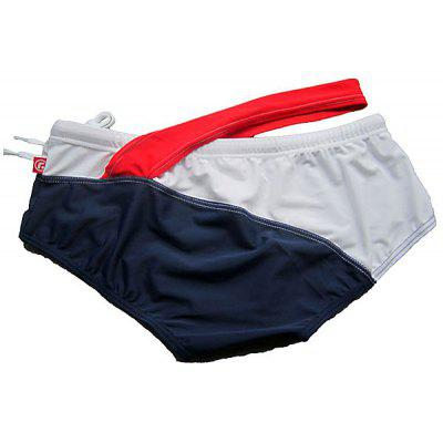 XL Size Men Sexy Constrast Color Design Swimwear Swimming Shorts Swimming Trunks/Pants with Drawstring