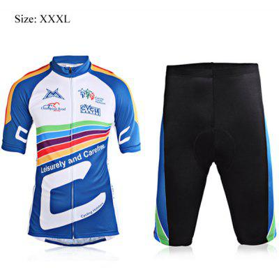 3XL Size Super Comfortable Short Sleeve Biking Cycling Jersey Suit Set for Men - Blue