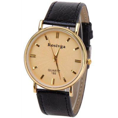 Rosivga Brand Men Watch with Quartz Round Dial Leather Watchband