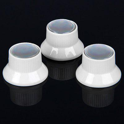 3PCS High Quality Top Hat Style Metal Silver Electric Guitar Dome Knobs with Pearl White Top