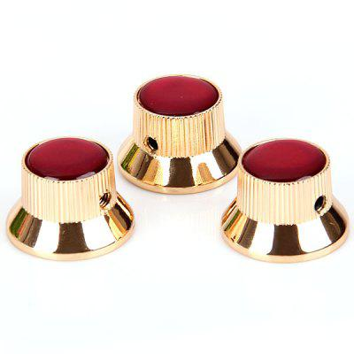 KB-52 3PCS Top Hat Style Professional Golden Control Knobs for Electric Guitar with Red Resin Head