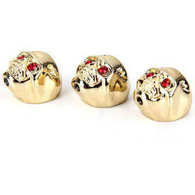 KB-34 3PCS High Quality Metal Skull Head Volume Knobs (Golden)
