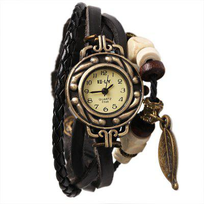 IELY Quartz Watch with 12 Numbers Indicate Leather Watch Band for Women - Black
