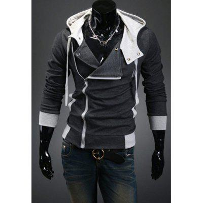 Fashionable Style Simple Design Long Sleeves Slimming Hooded Coat For Men