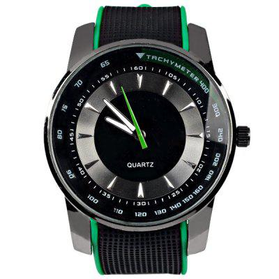 Cheap Watches with Round Dial and Rubber Watchband for UnisexWatches &amp; Jewelry<br>Cheap Watches with Round Dial and Rubber Watchband for Unisex<br><br>Available Color: Green<br>Band material: Rubber<br>Case color: Black<br>Case material: Stainless Steel<br>Clasp type: Pin buckle<br>Movement type: Quartz watch<br>Package Contents: 1 x Watch<br>Package size (L x W x H): 25.8 x 5.1 x 1 cm<br>Package weight: 0.107 kg<br>People: Unisex table<br>Product size (L x W x H): 24.8 x 4.1 x 1 cm<br>Product weight: 0.057 kg<br>Shape of the dial: Circular<br>Special features: Three needle<br>The bottom of the table: Ordinary<br>The dial diameter: 4.1 cm<br>The dial thickness: 1 cm<br>Watch style: Fashion<br>Water resistance: Life waterproof