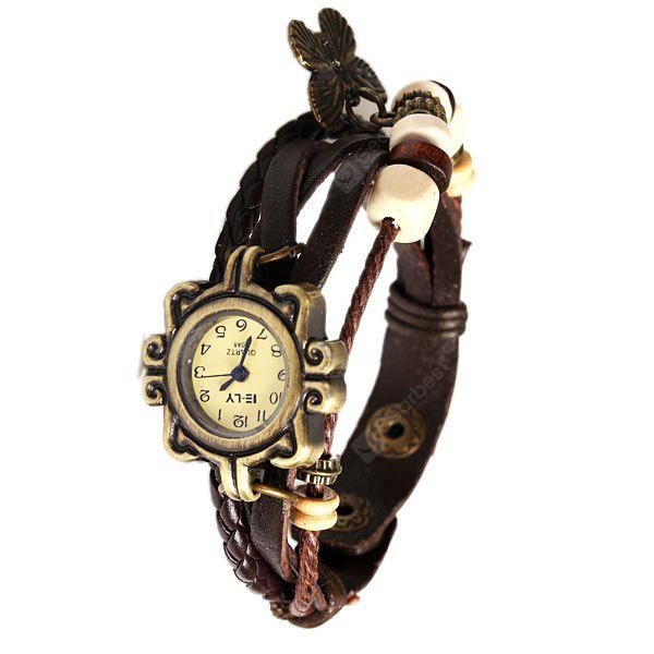 IELY Quartz Watch with 12 Numbers Indicate Leather Watch Band for Women (Dark Brown)