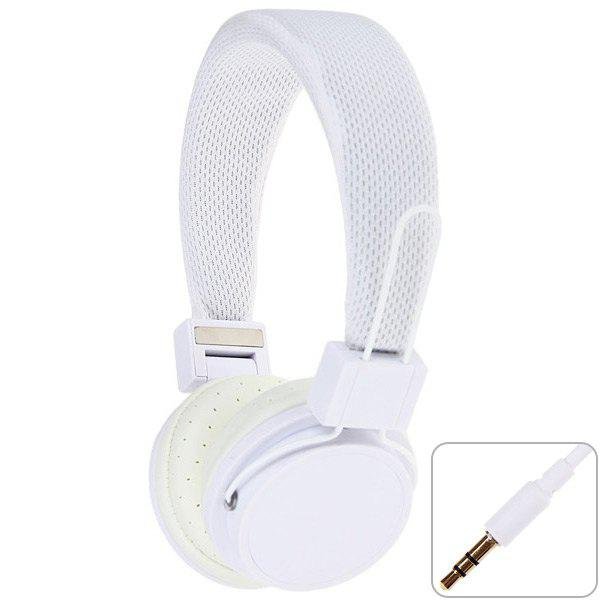 EX09i Folding White Headphones with Wired Control In-coming Phone Call Function