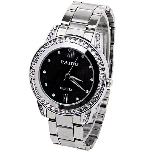 Paidu Quartz Watch with 2 Roman Numbers and Diamond Dots Indicate Steel Watch Band for Women - Black