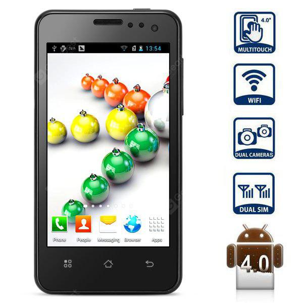 Jeepont ES60 Android 4.0 смартфон 4 дюйма WVGA IPS экран MSM8625 Dual Core 1GHz 4GB GPS (черный)