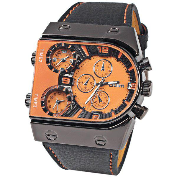 OULM Military Sports Watch Multiple Time Zones Leather Strap Quartz Wristwatch for Men