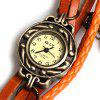IELY Quartz Watch with 12 Numbers Indicate Leather Watch Band for Women - Orange - ORANGE