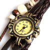 IELY Quartz Watch with 12 Numbers Indicate Leather Watch Band for Women (Dark Brown) - DARK BROWN