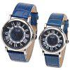 WLQR Couple's Watch with Round Dial Leather Watchband - BLUE