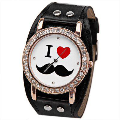 Quartz Watch 4 Diamond Dot Hour Marks Round Dial with Leather Watchband for Women - Ivory White