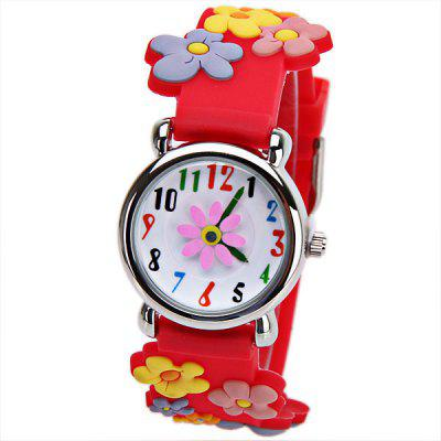 Beautiful Cartoon Rubber Strap Quartz Watch with Double Row Flowers Shaped Watchband for Children - Pink