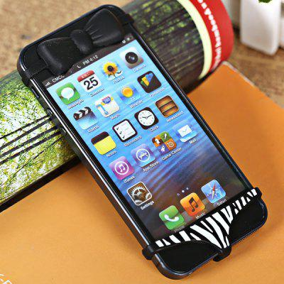 Fashion Sexy Bowknot Bra and Striped Pants Silica Gel Anti Dust Dustproof Protection Shell for iPhone 4 / 4S / 5 - Black