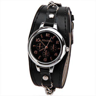 Cute Quartz Watch with Arabic Numbers Indicate Leather Watch Band for Women