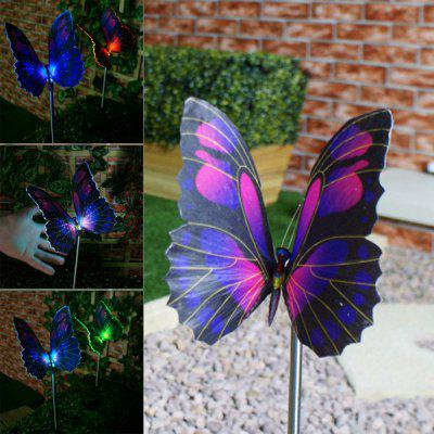 Elegant Design CIS-57125 Color Changing Solar Deck Light Solar Fiber Optic Butterfly Stake Light - 2Pcs