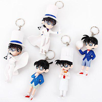 Buy Collection of 5pcs Popular Anime Detective Conan Characteristic Big Collection Figure Models Keyrings/Key Chains for $10.69 in GearBest store