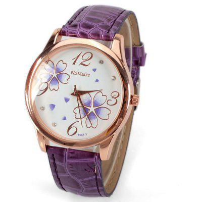 Buy PURPLE No.99653 Quartz Watch with Numbers and Dots Indicate Leather Watch Band Flower Pattern Dial for Women Blue for $2.98 in GearBest store