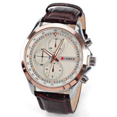 Military Waterproof Watches with Three Small Decorating Hands Round Dial and Leather Band for Men
