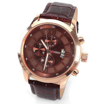 Curren Men Watch with Calendar Round Dial Leather Watchband