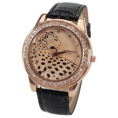 A628 Quartz Watch with 12 Small Diamond Dots Indicate Leather Watch Band Leopard Pattern Dial for Women - Black