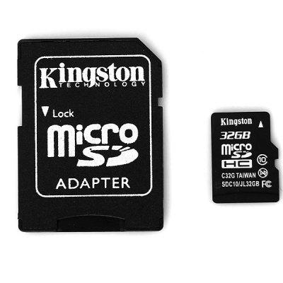 Kingston 32GB Class 10 Hot Sale Micro SD/SDHC Memory Card with SD AdapterMemory Cards<br>Kingston 32GB Class 10 Hot Sale Micro SD/SDHC Memory Card with SD Adapter<br><br>Brand: Kingston<br>Class Rating: Class 10<br>Memory Capacity: 32G<br>Memory Card Type: Micro SD/TF<br>Other Features: No external power is required, Full plug and play<br>Package Contents: 1 x Memiry Card, 1 x Adapter<br>Package size (L x W x H): 5.1 x 4.2 x 0.8 cm<br>Package weight: 0.010 kg<br>Read Speed: 15 MB/s<br>Type: Memory Card<br>Write Speed: 10 MB/s