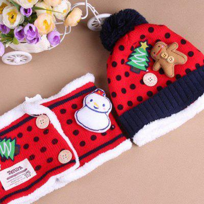 2PCS Beautiful Children Christmas Hat and Neckerchief with Christmas Tree and Snowman Pattern (Red)
