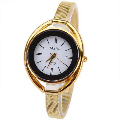 MxRe Quartz Watch with Strips Hour Marks Steel Watch Band for Women - Golden