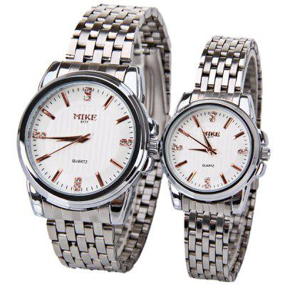 Mike Simple Design Waterproof Watch with Round Dial and Steel Band for Couple